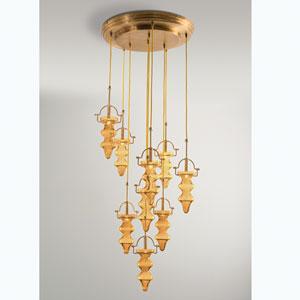 Tea Light Amber Nine-Light Chandelier