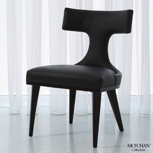 Anvil Back Black Leather Dining Chair