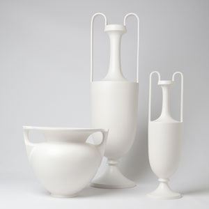 Roger Thomas Matte White Large Elongated Grecian Amphora Only