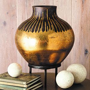 Studio A Anasazi Gold Drops Vessel on Stand