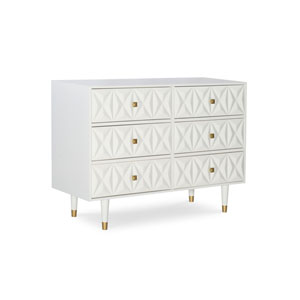Theodore White and Gold Six Drawer Dresser