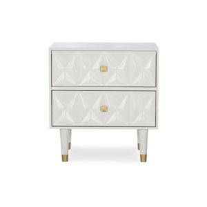 Ryan White and Gold Two Drawer Nightstand