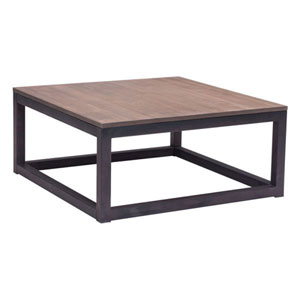 Civic Center Distressed Natural Fir Wood Square Coffee Table
