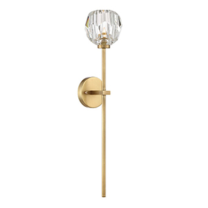 Parisian Aged Brass with Crystal 24-Inch One-Light Wall Sconce