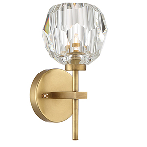 Parisian Aged Brass with Crystal Nine-Inch One-Light Wall Sconce