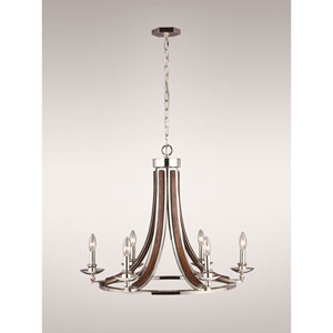Solstice Polished  Nickel and Painted Wood 28-Inch Six-Light Chandelier