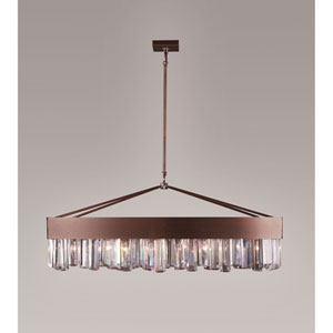 Cuspis Antique Copper 14.5-Inch Eight-Light Linear Pendant with Hexagonal Crystal Rods