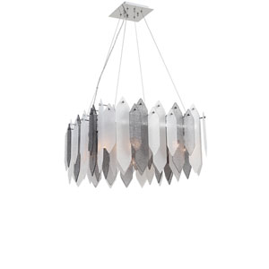 Stratus Chrome Frame Smoke and Frosted Glass 6-Light Pendant