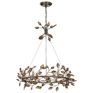 Misthaven Silver Leaf with and Antique Gold Paint and Champagne Crystals 6-Light Chandelier