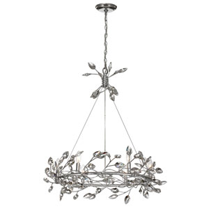 Misthaven Silver Leaf with Clear Crystal 6-Light Chandelier