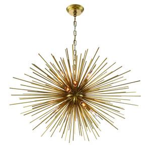 Burst Aged Brass Twelve Light Thirty Six Inch Starburst Pendant
