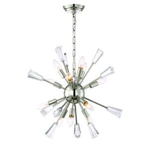 Muse Polished Nickel Twelve Light Starburst Pendant