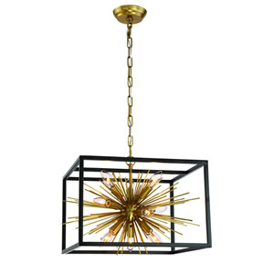 Burst Aged Brass Ten Light Starburst Pendant