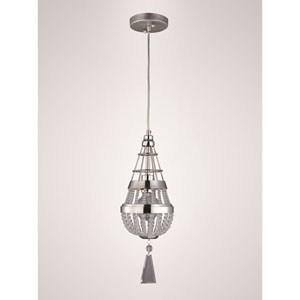 Arbelos Polished Nickel 6.5-Inch One-Light Mini Pendant with Clear Crystal