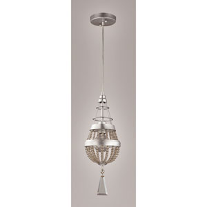Arbelos Painted Silver 6.5-Inch One-Light Mini Pendant with Smoke Plated Crystal