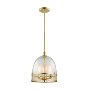 Theia Matte Gold with Brass Candle Sleeves and Hardware 3-Light Pendant