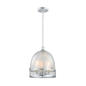 Theia Matte Silver with Brass Candle Sleeves and Hardware 3-Light Pendant