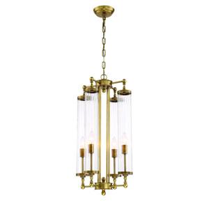Regis Aged Brass Four Light Fourteen Inch Pendant