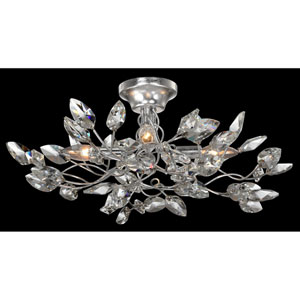 Misthaven Silver Leaf with Clear Crystal 4-Light Semi-Flush Mount