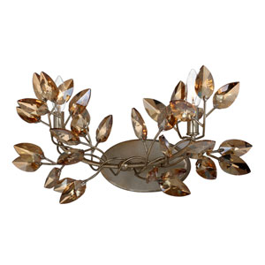 Misthaven Silver Leaf 2-Light Wall Sconce with and Antique Gold Paint and Champagne Crystals