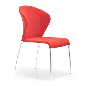 Oulu Red and Chromed Steel Side Chair, Set of Four