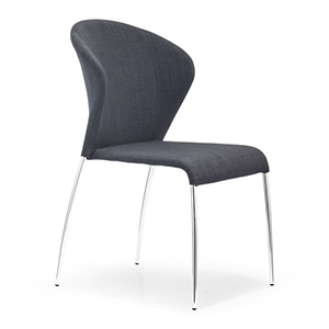 Oulu Gray and Chromed Steel Side Chair