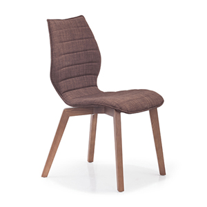 Aalborg Tobacco Fabric Solid Wood Side Chair