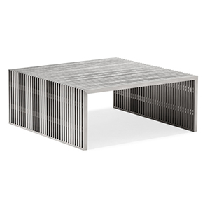 Novel Brushed Stainless Steel Square Coffee Table