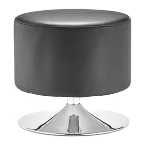 Plump Black and Chromed Steel Ottoman