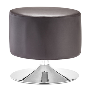 Plump Brown and Chromed Steel Ottoman
