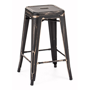 Marius Black and Steel Counter Stool