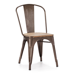 Elio Steel and Wood Side Chair