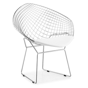 Net White and Chormed Solid Steel Dining Chair