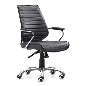 Enterprise Black and Chromed Steel Low Back Office Chair
