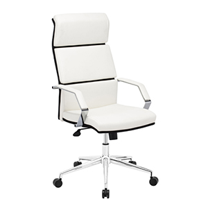Lider Pro White and Chromed Steel Office Chair