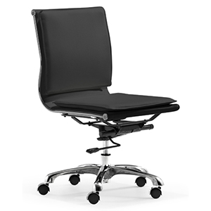 Lider Plus Black and Chromed Steel Armless Office Chair