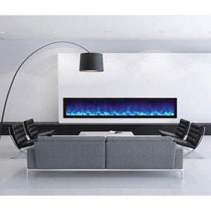 Panorama Black 88-Inch Slim Electric Fireplace