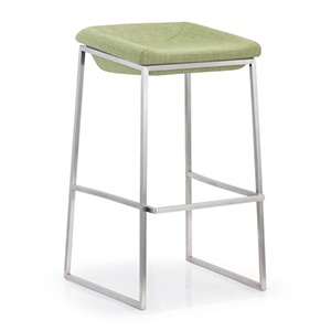 Lids Green and Brushed Stainless Steel Bar Chair