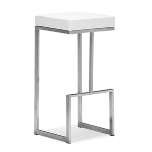 Darwen White and Brushed Stainless Steel Bar Chair