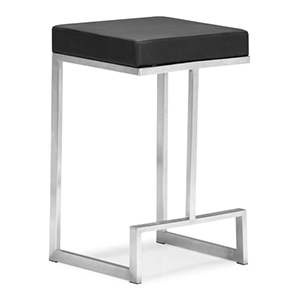Darwen Black and Brushed Stainless Steel Counter Chair