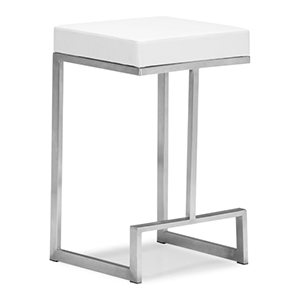 Darwen White and Brushed Stainless Steel Counter Chair