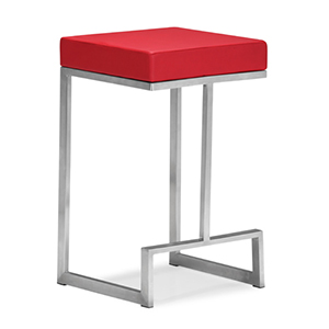 Darwen Red and Brushed Stainless Steel Counter Chair