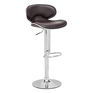 Fly Espresso and Chromed Steel Adjustable Bar Stool