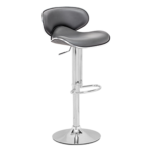 Fly Gray and Chromed Steel Adjustable Bar Stool