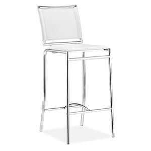 Soar White and Chromed Steel Bar Chair