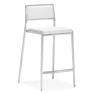 Dolemite White and Brushed Stainless Steel Counter Chair