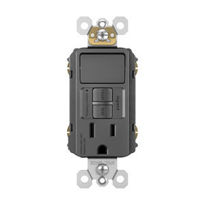 Black Combination Tamper-Resistant 15A Self-Test Single-Pole Switch GFCI