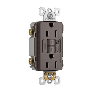 Brown Audible Alarm Tamper-Resistant 15A Self-Test Duplex GFCI