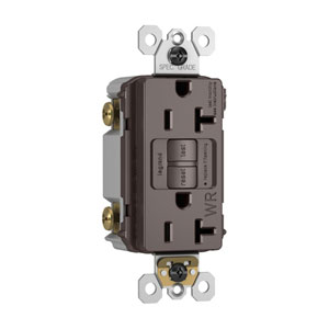 Brown Spec-Grade Tamper-Resistant 20A Self-Test Duplex GFCI