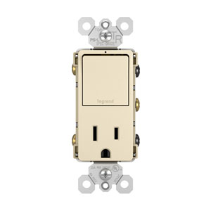 Light Almond Single Pole 3-Way Switch and 15A Tamper-Resistant Outlet